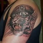 тату тигр в краповом берете