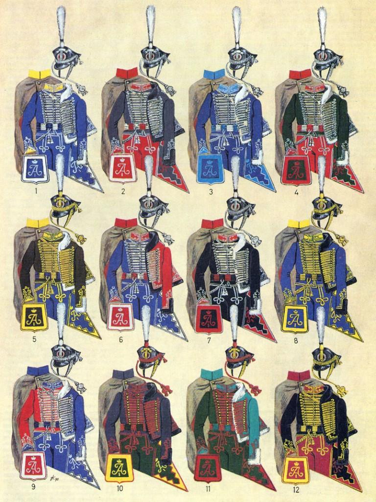 Расцветка обмундирования гусарских полков 1812—1816 гг