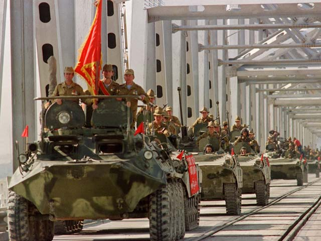 A convoy of Soviet Army armoured personal vehicles