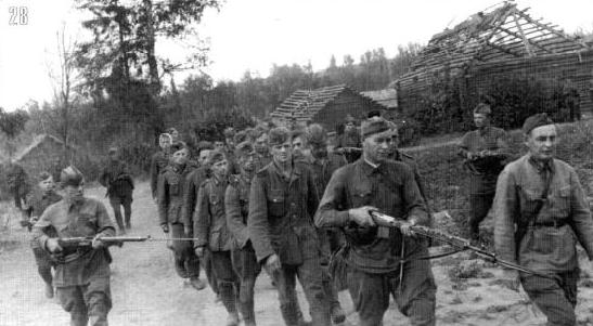 Колонна немецких пленных, захваченных 149-й пехотной дивизией в боях за деревню Захарово. 23 июля