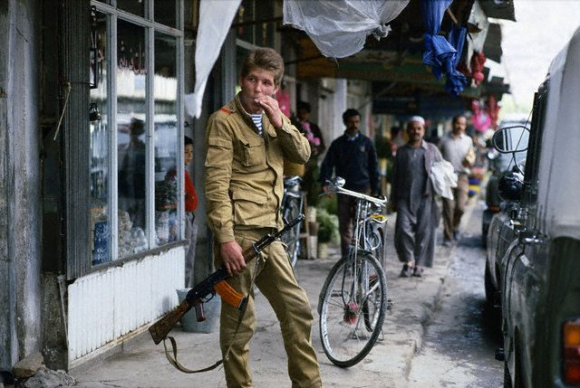Young Soviet Soldier Smoking on Kabul Street
