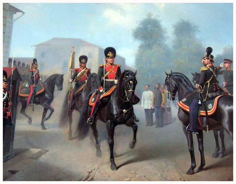 В истории российской гвардии были и примеры вооруженных выступлений её частей против правящего режима. Первое из них произошло в 1825 году, когда некоторые подразделения гвардии приняли участие в восстании декабристов на Сенатской площади Санкт‑Петербурга. Однако, большая часть гвардии восстание не поддержала.