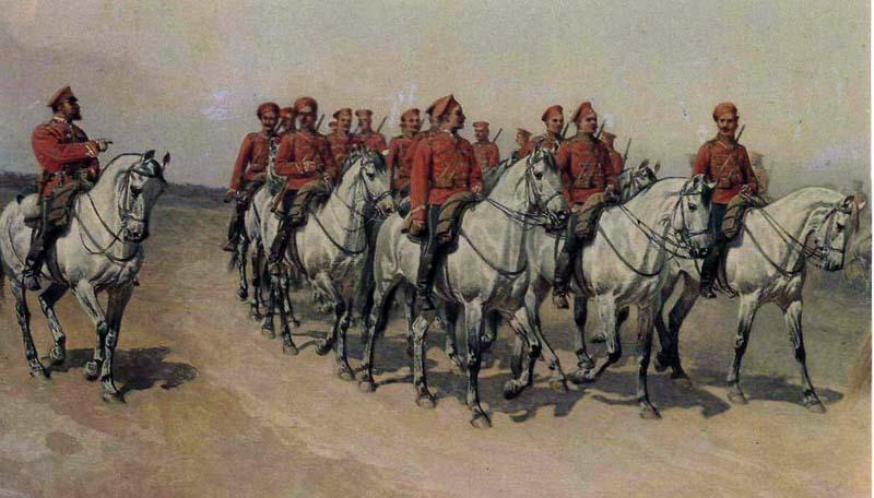 эскадрон гусар на маневрах под Красным Селом